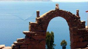 stone arch lake titicaca peru