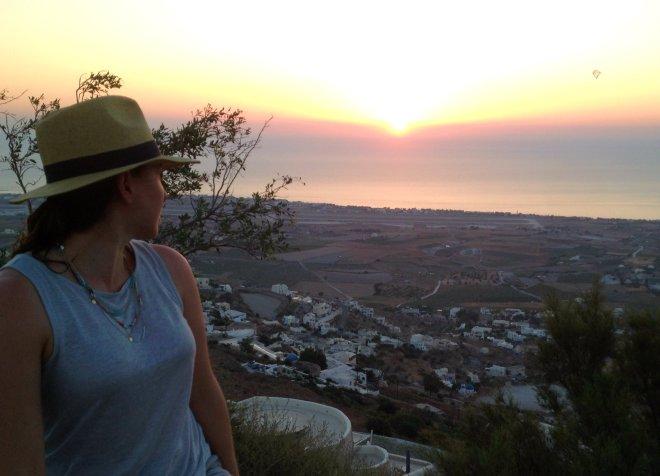 summery sunrise santorini greece